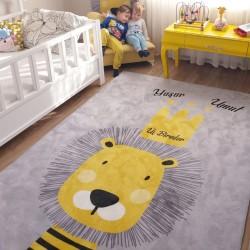 Aslan Kral Çocuk Odası Halısı Siyah Sarı
