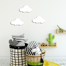 Beyaz Bulutlar Çocuk Odası Ahşap Duvar Süsü