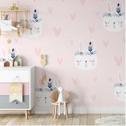 İskandinav Tavşan Çocuk Odası Duvar Kağıdı