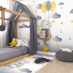 Balonlu Uçan Fil Çocuk Odası Duvar Kağıdı
