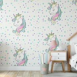 Prenses Unicorn Çocuk Odası Duvar Kağıdı