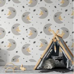 Sevimli Ay Dede Ve Yıldız Çocuk Odası Duvar Kağıdı