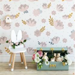 Çiçek Desenli Çocuk Odası Duvar Kağıdı