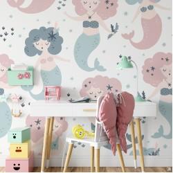 Deniz Kızı Desenli Çocuk Odası Duvar Kağıdı