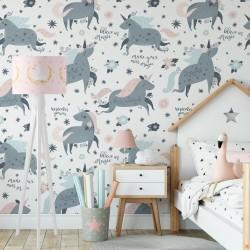 Sihirli Unicorn Çocuk Odası Duvar Kağıdı