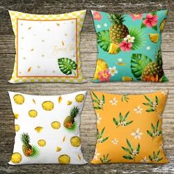 Ananas Tropik Kombin Kırlent Kılıfı Seti