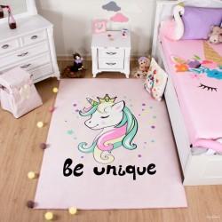 Prenses Unicorn Pembe Çocuk Halısı